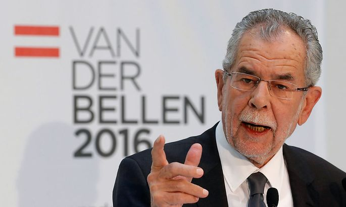 Austrian presidential candidate Van der Bellen addresses a news conference in Vienna