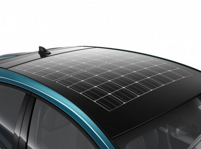 Optionales Solardach auf dem Prius.