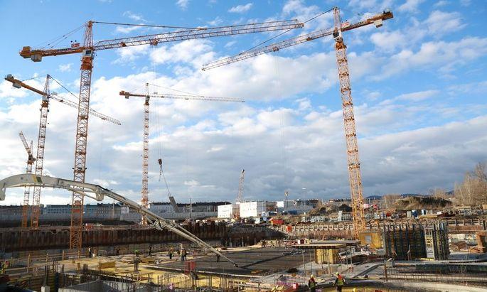 Baustelle Nordbahnhof Wien 13 01 2016 Areal des ehemaligen Nordbahnhofes Groszbaustelle Wohnbau