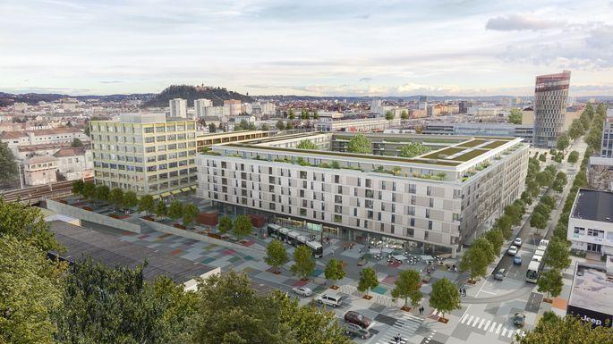 Rendering des Grazer Stadtentwicklungsgebiets, auf dem das Konzept der Smart City verwirklicht werden soll.