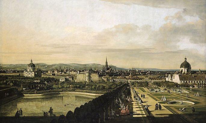 ''Wien, vom Belvedere aus gesehen''. Gemälde von Canaletto, 1758.