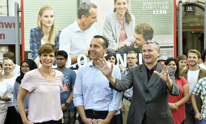 Im Bild: Gesundheitsministerin Pamela Rendi-Wagner, Kanzler Christian Kern, SPÖ-Geschäftsführer Georg Niedermühlbichler.