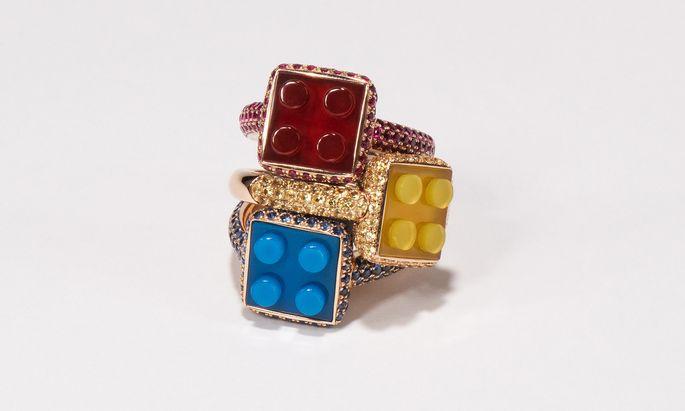 """Bausatz. Die """"Bon Bon Blocks"""" von Nadine Ghosn in Ros gold mit Achaten und gelben Brillanten."""