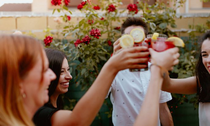 Group of cheerful friends clinking glasses at party Copyright: xElenaxGonzalezx