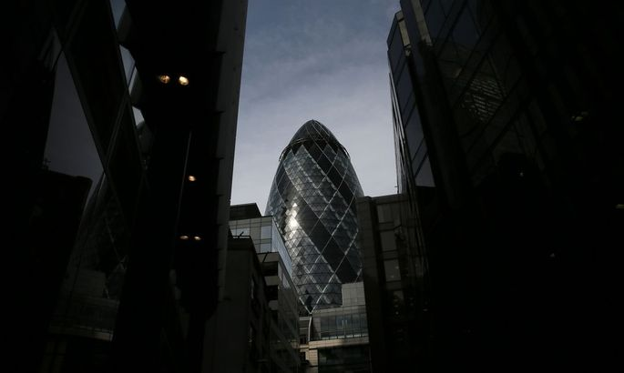 The 30 St Mary Axe skyscraper which is known locally as 'The Gherkin' is seen in London