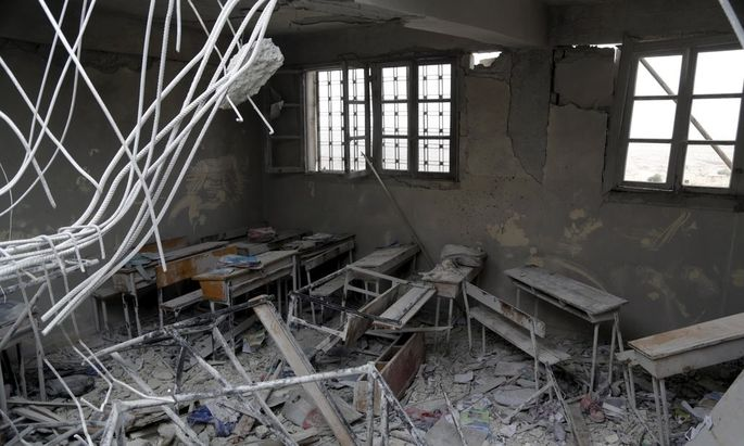 Damage is seen inside a school, due to what activists said was an air strike carried out yesterday by the Russian air force in Injara town, Aleppo countryside, Syria