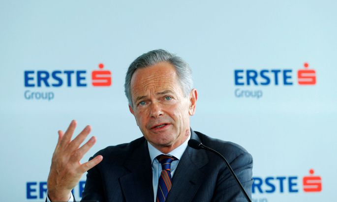 Erste Group Bank Chief Executive Treichl addresses a news conference in Vienna