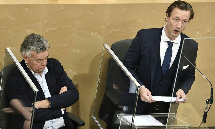 Gernot Blümel bei seiner zweiten Budgetrede am Mittwoch, den 13. Oktober.