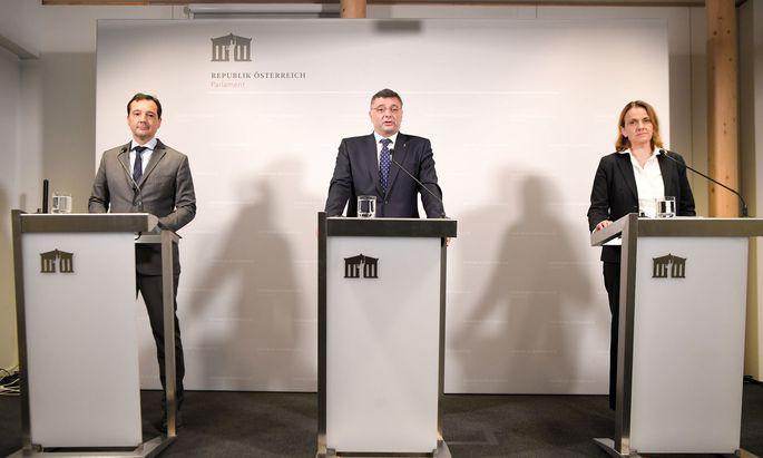 Gerald Loacker (Neos), Jörg Leichtfried (SPÖ) und Dagmar Belakowitsch (FPÖ)