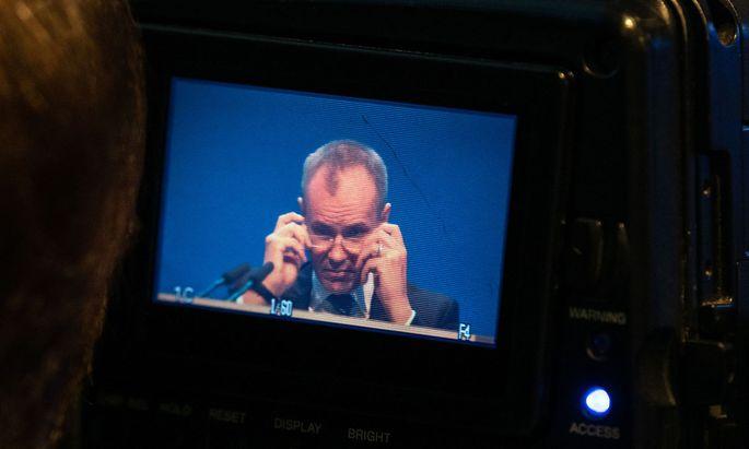 Archivbild: Markus Braun auf einem Kamera-Display - aufgenommen bei der Wirecard-Generalversammlung 2019