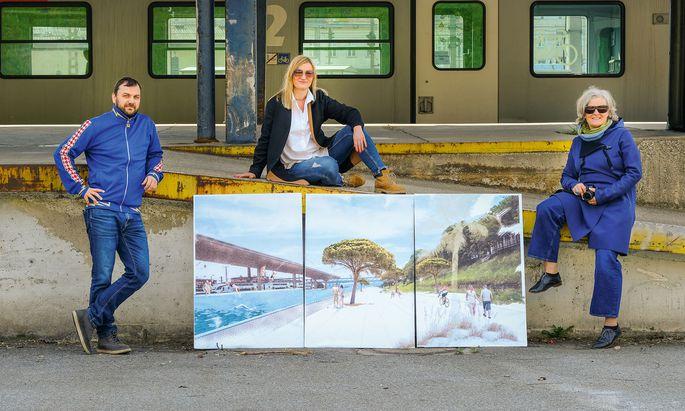 Visionär. Hannes Gröblacher, Karoline Seywald und Lilli Lička führen durch den Westbahn Park.