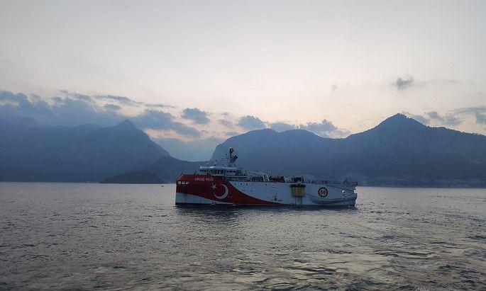 Turkish seismic research vessel Oruc Reis sails through Mediterranean after leaving a port in Antalya