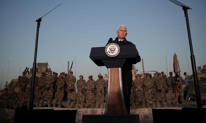 Mike Pence hielt vor US-Soldaten im Irak eine Rede.
