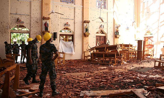 Die zerstörte Kirche des Heiligen Sebastian in Negombo auf Sri Lanka.