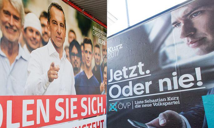 Symbolbild: Plakat mit SPÖ-Chef Kern und ÖVP-Chef Kurz