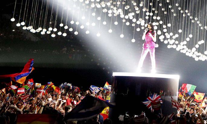 Conchita beim Finale des Song Contests 2015, dem größten Event in der Geschichte der Stadthalle