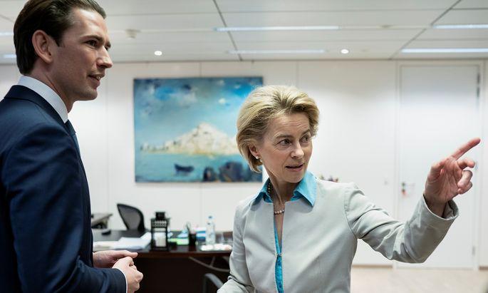 Bundeskanzler Kurz präsentierte die türkis-grüne Europapolitik am Sonntag der neuen Kommissionschefin von der Leyen.