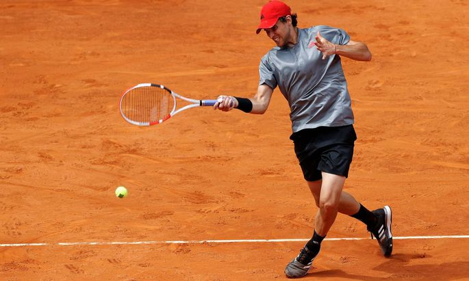 Dominic Thiem of Austria in action during his semifinal match against Alexander Zverev of Germany at the Mutua Madrid Op