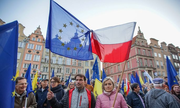 Protest Agains POLEXIT In Gdansk, Poland Protesters with EU and Polish flags are seen in Gdansk, Poland on 10 October 2