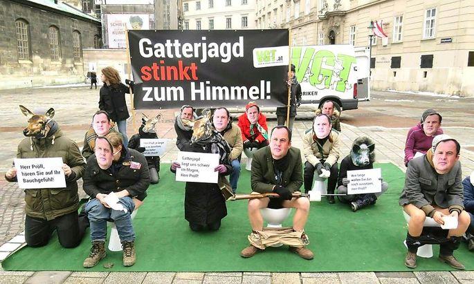 Archivbild: Eine Aktion des VgT am Wiener Stephansplatz