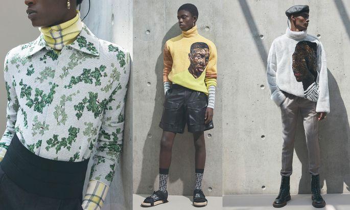 Leinwand. Teile der Dior-Man-Sommerkollektion 2021 entstanden als Kooperation von Designer Kim Jones und Amoako Boafo.