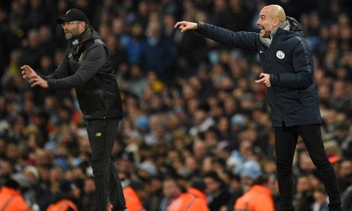 Zum 16. Mal standen sich Jürgen Klopp (l.) und Pep Guardiola an der Seitenlinie gegenüber, zum zweiten Mal musste sich der Deutsche mit Liverpool geschlagen geben.