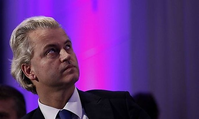 Dutch right-wing politician Wilders of the anti-Islam Freedom Party attends a meeting in Berlin