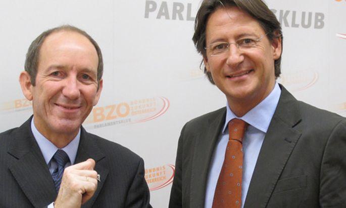 BZÖ will Bürgergeld statt Mindestsicherung. BZÖ-Chef Buchner (rechts) und Zukunftsforscher Hilmar Schneider stellen ihr Konzept vor