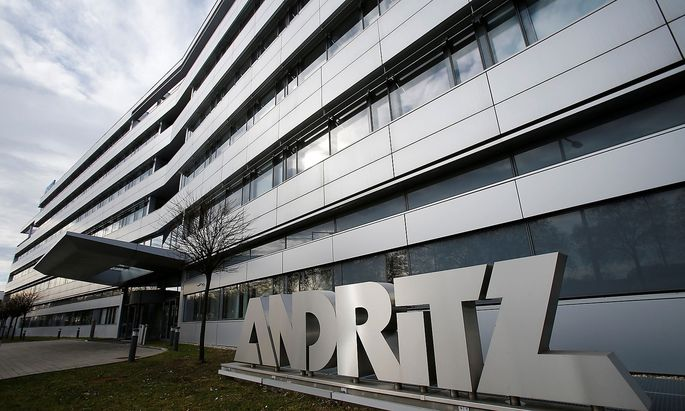 FILE PHOTO: The logo of Austrian machinery maker Andritz outside its headquarters in Vienna