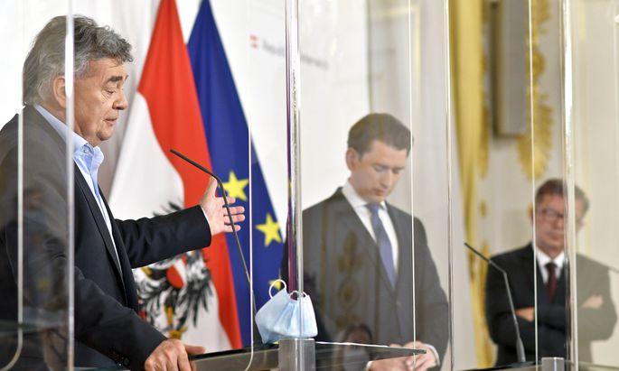 Vizekanzler Werner Kogler (Grüne), Bundeskanzler Sebastian Kurz (ÖVP) und Gesundheitsminister Rudolf Anschober (Grüne)