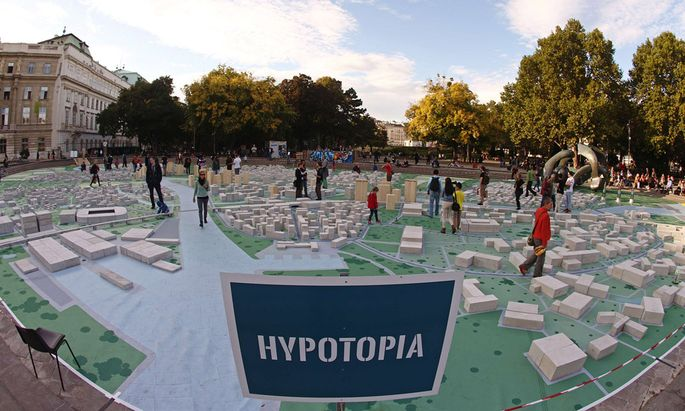 The arts project titled ´Hypotopia´, created by students of the Vienna University of Technology, is pictured in front of the Karlskirche church in Vienna