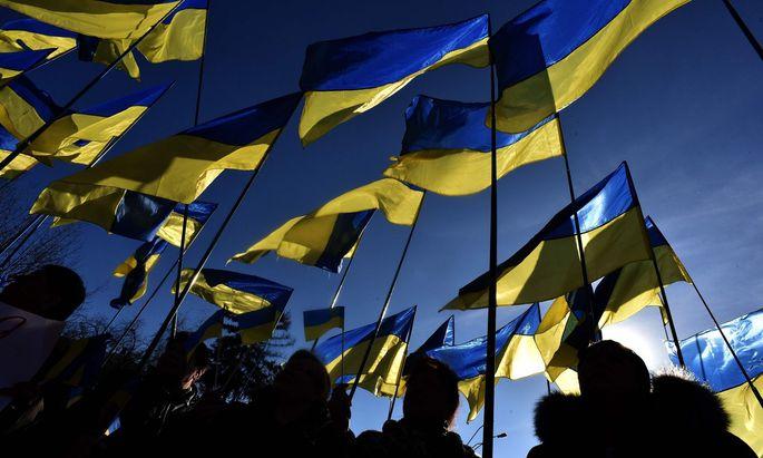 Unterstützer von Julia Timoschenko mit blau-gelben Flaggen.