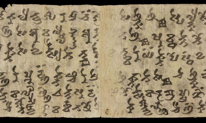 Welche Sprache wurde zuerst in Tarim Brahmi geschrieben? Vieles deutet auf Sanskrit hin, aber auch Tocharisch (siehe Fragment) nutzte die Schrift früh.