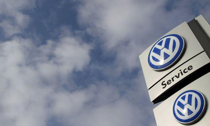 File photo of sign of a Volkswagen VW car dealer