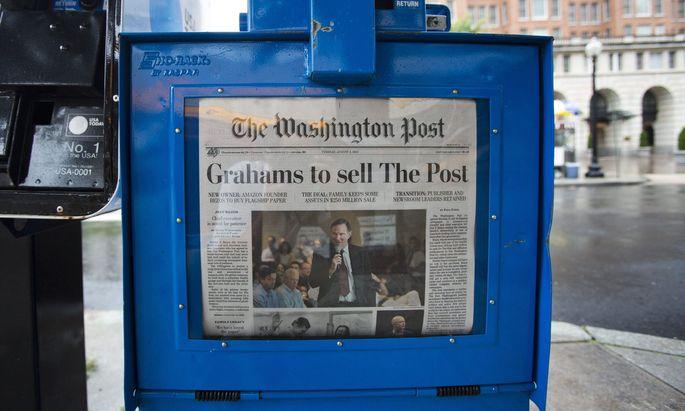 """2013 kaufte Jeff Bezos, der Gründer von Amazon, um 250 Mio. US-Dollar die renommierte """"Washington Post""""."""