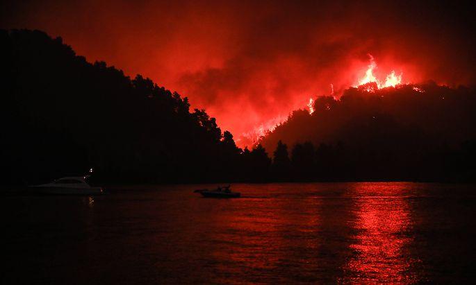 News Bilder des Tages Griechenland - Insel Eub�a, auf der griechischen Insel Eub�a (Evia) evakuierte die K�stenwache �be
