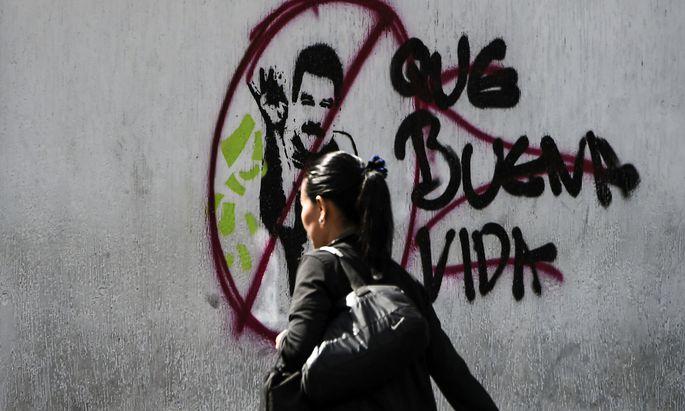 Grafitti gegen Venezuelas Präsident Nicolás Maduro