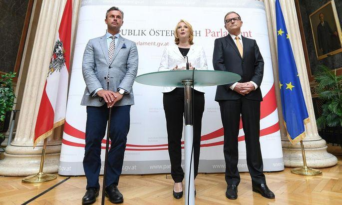 Die drei Nationalratspräsidenten Doris Bures, Karlheinz Kopf und Norbert Hofer