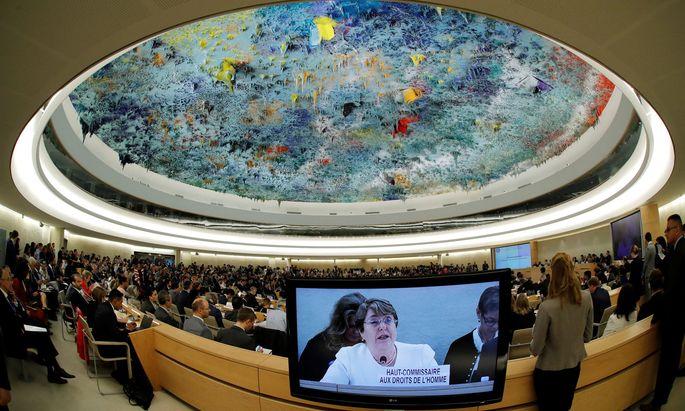 Chiles Ex-Präsidentin Michelle Bachelet hielt ihre Antrittsrede als UN-Menschenrechtskommissarin in Genf.