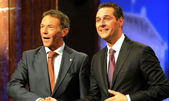 Archivbild: Jörg Haider und Heinz-Christian Strache am 28. September 2008