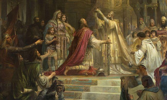 Kirche und Staat: Krönung von Karl dem Großen am 25. Dezember 800 in Rom, Gemälde von Friedrich Kaulbach (1822–1903).