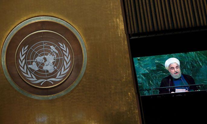 Der iranische Präsident Hassan Rouhani vor der UNO.