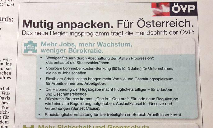 Inserat in der ''Kronen Zeitung''
