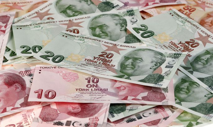 Turkish Lira banknotes are seen in this picture illustration