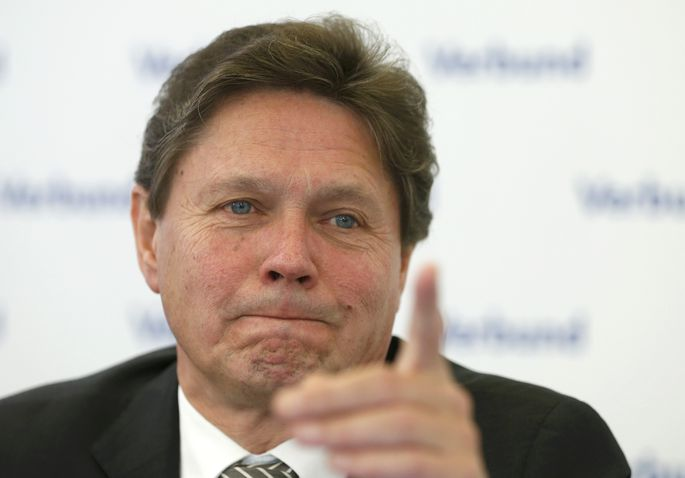 Chief Executive Anzengruber of Austrian hydropower producer Verbund addresses a news conference in Vienna