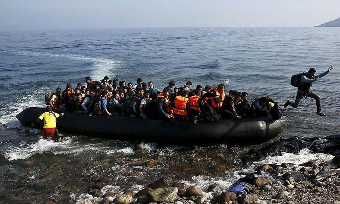 Flüchtlinge bei der Ankunft in Griechenland