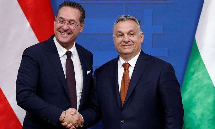 Hungary's Prime Minister Viktor Orban and Austria's Vice Chancellor Heinz-Christian Strache hold a joint news conference in Budapest
