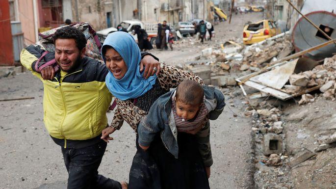Die Kämpfe im Westen Mossuls vertrieben bisher mehr als 45.000 Zivilisten.