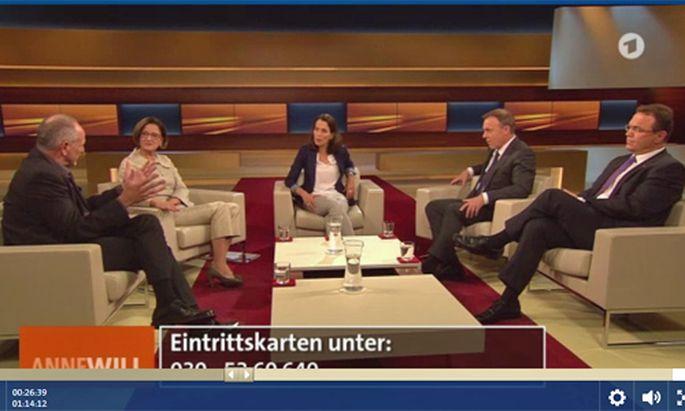 Über die Flüchtlingskrise diskutieren Johanna Mikl-Leitner, Thomas Oppermann, Hans-Peter Friedrich und Andreas Lipsch.
