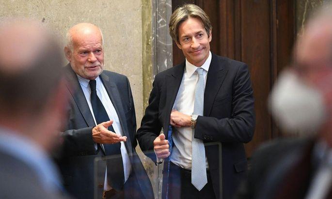 Anwalt Manfred Ainedter und Karl-Heinz Grasser im Wiener Straflandesgericht